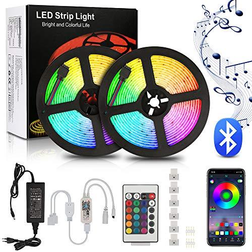 Tira de luces LED de 10 m, 300 ledes, WiFi, modo de color, música, temporizador, modo integrado, modo de cámara, micrófono, para Navidad, hogar o cocina