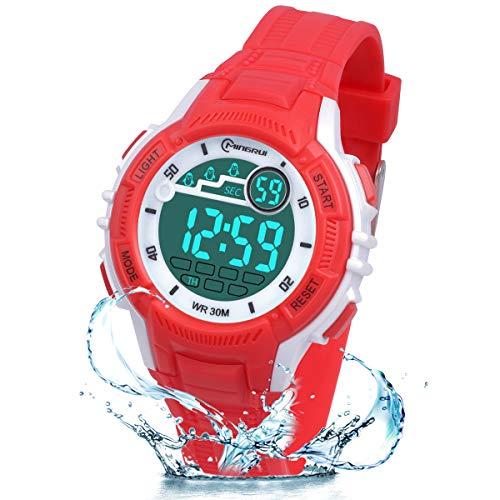 Kinder Digitaluhren, LED-Licht Kinder Sport Armbanduhr Jungen Wasserdicht Kinderuhr mit Alarm Stoppuhr, Kinderuhren Outdoor Armbanduhr für Jungen Mädchen (rot)