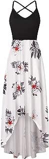 ❀♪ Women's Summer Striped Print Maxi Dress Contrast Sleeveless Tank Top Floral Print Long Maxi Dresses White