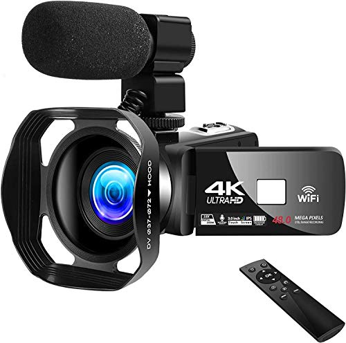 4K Video Camera Camcorder Vlogging Camera for YouTube UHD 48M 30FPS Digital Zoom Camcorder Infrared Night Vision 3 in Touch Screen Recorder with Hood Support Webcam Microphone