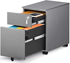 HAIAOJIA 2 Drawer Mobile File Cabinet with Lock, Metal Filing Cabinet for Legal/Letter/A4/F4 Size, Fully Assembled Include...