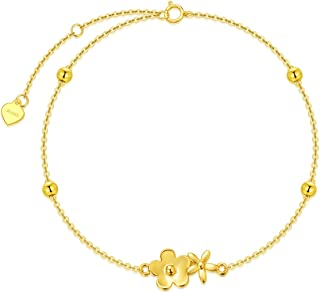 سوار من الذهب الخالص 14 قيراط زهرة للنساء أساور للبنات من الذهب الحقيقي سلسلة سوار