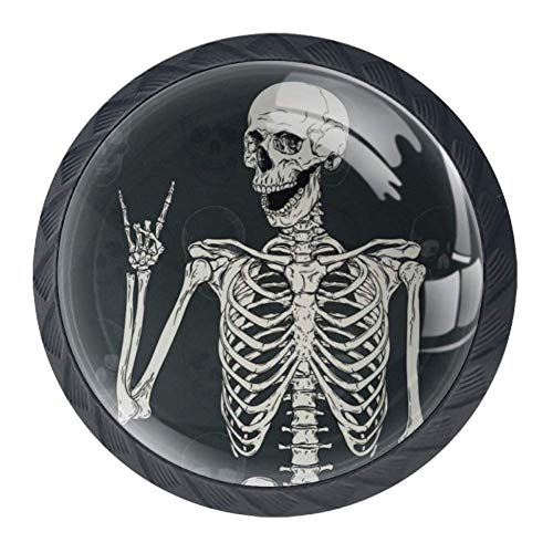 4 Pcs 35mm Rock and Roll Skull Skeleton Cabinet Knobs Round Crystal Glass Drawer Handles Pull with Screws for Home, Office, Kitchen, Bathroom Cabinet, Dresser and Cupboard (1-3/8 Inches)