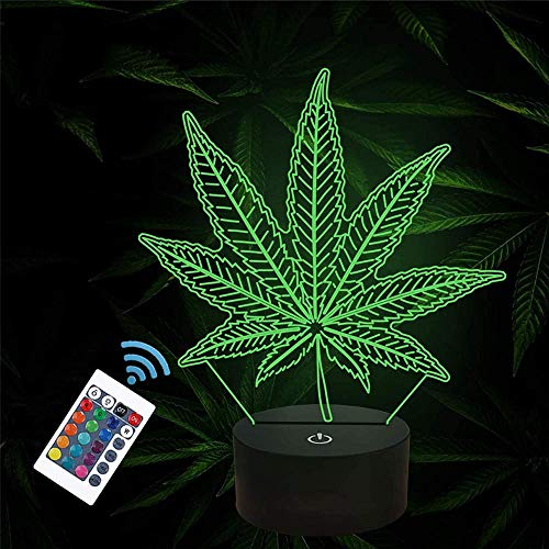 Hoja de cannabis Lámpara de ilusión 3D Niñas Luz de Noche USB Carga Mesa Lámpara de Escritorio Regalo Perfecto Cumpleaños Navidad para Bebé Adolescentes Niños