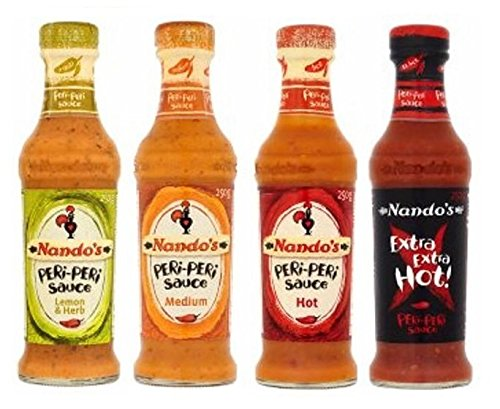 Nandos Peri Peri Sauces 125ml - Lemon & Herb (Mild), Medium, Hot AND Extra Hot Sauce. by Nando's