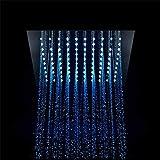 XSGDMN Sistema de Ducha de Lluvia LED, Plaza LED Cascada Ducha de Lluvia Sistema Multi-Funcional Sistema de Ducha termostática, 64 Clases de Color, Control Remoto