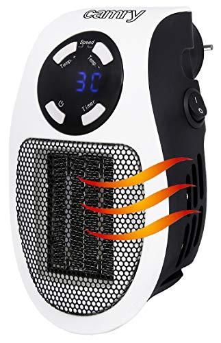 Mini Heizlüfter | Mini Elektroheizung | Mobiler Heizlüfter | Keramik Heizlüfter | Heizstrahler | 700 Watt | 12 Stunden Timer | Digitale blaue LED-Anzeige | Keramikheizelement | Cool-Touch Gehäuse |