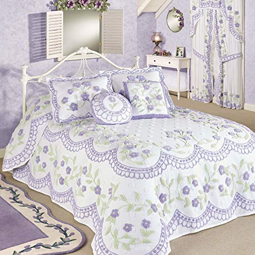Touch of Class Cottage Garden Grande Bedspread - Lavender - Cotton Chenille - Handcrafted Vintage Bedding - French Country Style Bedspreads for Bedroom - Full Size - 24 Inch Drop