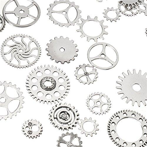 KUNSE 60-70Pcs Steampunk Altered Art Craft Cyberpunk Gear Wheels Decoration Part