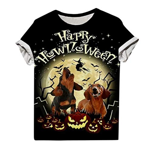 Happy Halloween Womens Short Sleeve 3D Printed Tops Dog Moon Pumpkin Graphic O-neck Tops Ladies T-shirt Dog Mom's Gift