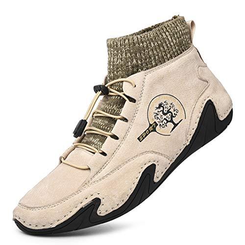 Botas de Senderismo para Hombre Otoño Invierno Zapatos de Senderismo Zapatillas Cordones Botas nvierno Forro Piel Sneakers Calientes Botines Tela Tejida