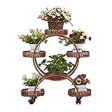 ZYFA Blumentreppen Blumenrahmen aus Schmiedeeisen mit Mehreren Schichten, fahrbares Regal auf Rollen, Multifunktions-Blumentopfregal, Blumentöpfe-Ausstellungsstand , Hält 6 Flower Pot (Farbe : A)