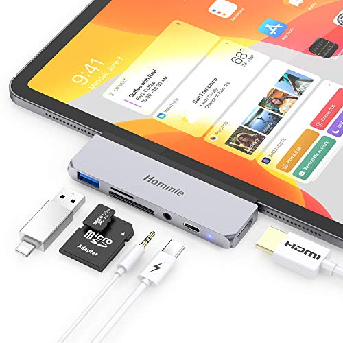 Hommie USB C Hub, 6 in 1 Aluminium Typ C Adapter mit 4K HDMI, USB C PD Aufladung, USB 3.0 und 3,5mm Audioausgang, SD/TF-Kartenleser, Kompatibel mit iPad Pro 2018, MacBook, Surface Go usw. Grau