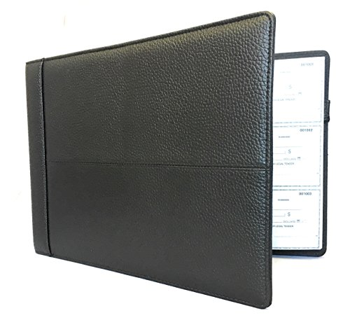 Premium Executive Check Binder, Black Padded Leather Look and Feel, 7 Ring w Zip Pouch Checkbook Portfolio, For 9x13 Inch Sheets, 200 sheet 3 per Page Capacity for 600 checks, by Officewerks