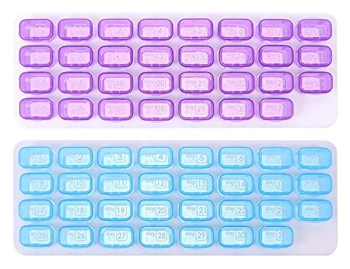 LIXBD - Contenitore portatile per pillole per 31 giorni, per pillole, per viaggi, medicinali, vitamine e pillole, in plastica, per casa, picnic all'aperto