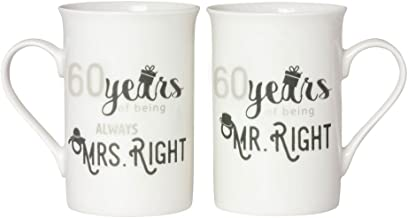 Designer 60th Anniversary Mr Right & Mrs Always Right Mug Gift Set by Haysoms