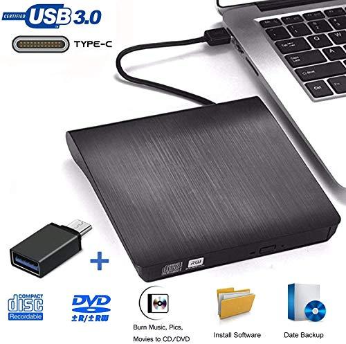 Externe CD DVD Laufwerk USB C und USB 3.0,tragbar USB Typ c Extern Brenner DVD RW Optisches Superdrive Compatible für MacBook Pro/Air/iMac/Laptop/Windows/Samsung/PC