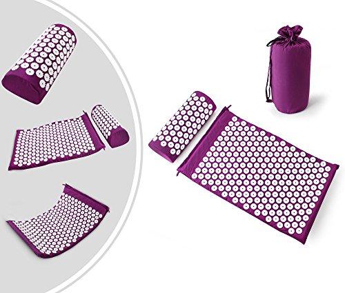 Leogreen - Kit d'Acupression avec Tapis et Coussin, Set de Massage, Violet, avec sac et coussin, Standards/Certifications: ROHS, Nombre de clous: 66 pieces sur oreiller