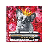 French Bulldog Artwork Wall Art - Cool Red Rose Prints Yellow Golden Crown Posters Pet Dog Wall Decor Puppy & Book Canvas Prints for Reading Room Kids Cabin Nursery Home Decoration 12