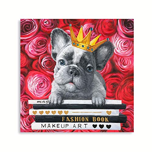 French Bulldog Artwork Wall Art: Cool Red Rose Prints Yellow Golden Crown Posters Pet Dog Wall Decor Puppy & Book Canvas Prints for Reading Room Kids Cabin Nursery Home Decoration 12' x 12'