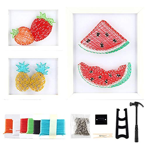 3 Pack String Art Kit of Colorful Fruit with Frames  Complete String Art Kits with All Supplies Hammer Nails Winding Pen and String Art Kits Creativity for Kids 912 Girls