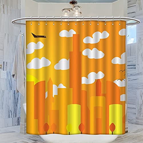 Cortina de ducha de 183 x 183 cm, con diseño de paisaje de azabache volador, impermeable, con 12 ganchos de plástico, lavable