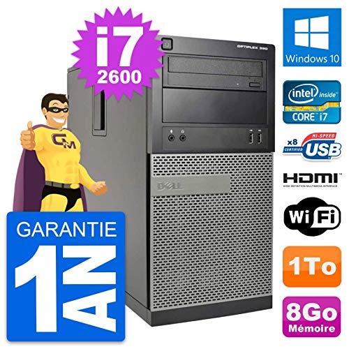 Dell PC Tour Optiplex 390 MT i7-2600 RAM 8Go Disk 1To HDMI Windows 10 Wifi (Reconditioned)