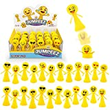 Jumping Smiley Popper Spring Launchers Toys - Bouncy Party Favors for Kids - Unique Mini Toys - Party Supplies and Goodie Bag Fillers - 24 Figurines in a Beautiful Display Box - Easter Egg Filler