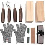 Wood Carving Tools Set of 11- Includes Black Walnut Handle Wood Carving Knife,Whittling Knife,Hook Knife,Polishing Compound,SharpeningStone,Cut Resistant Gloves,Wood Carving Kit for Beginners.