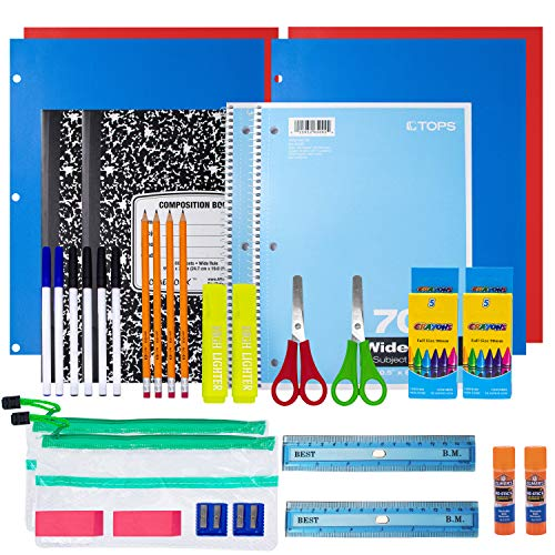 School Supplies for Kids, Back to School Supply Box, Supplies for Girls Or Boys, Double Supply Bundle Kit (34 Supplies)