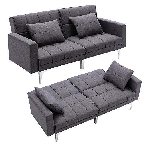 Mingone Schlafsofa Sofa mit Schlaffunktion 3 Sitzer Sofabett Verstellbarer Winkel Couch Schlafsessel (Dunkelgrau, 76 x 86 x 148 cm)