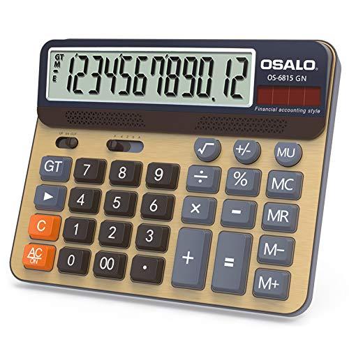 OSALO Calculadora de mesa, pantalla grande, teclas grandes, calculadora de 12 dígitos (OS-6815GN)