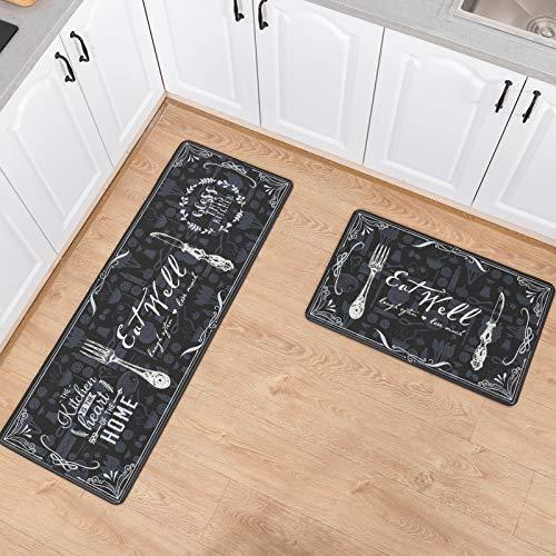 Asrug Anti Fatigue Comfort Kitchen Standing Desk Mat Decorative Ergonomic Floor Pad Kitchen Rug Waterproof Stain Resistance Non Slip Kitchen Set, 17.3''x27.6''+17.3''x47.2'', Eat Well