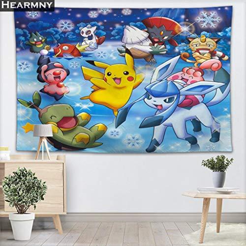 KHTBB Fondo de Pokemon Cenefa de Tela Tapiz Colgante de Pared Dormitorio Sala de Estar Manta Yoga Toalla de Playa Mantel