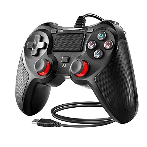 BuFan Mando PS4, Joysticks con Seis ejes Dual Vibration Gamepad para PS4 / PS3 / PC (Windows XP/7/8/8.1/10) /Android/Steam, Negro