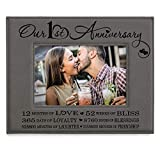 KATE POSH Our First (1st) Anniversary Engraved Leather Picture Frame - Gifts for Couple, Gifts for Him, Gift for Her, Paper, Photo Frame, First Wedding (5x7-Horizontal)