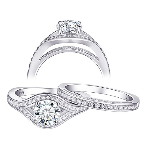 Newshe Jewellery Cz Wedding Ring Sets Engagement Rings for Women Sterling Silver 1.3ct Round White Size 10