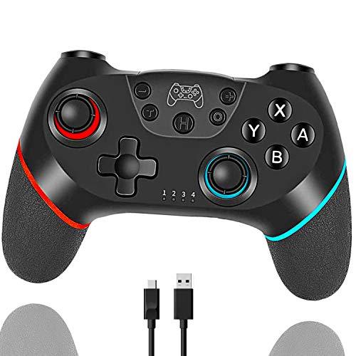 Tanouve Mando Compatible con Nintendo Switch, Controlador Inalámbrico Compatible con NitendoSwitch Pro/PC Gamepad Bluetooth Inalámbrico con Doble Choque Vibración Controlador