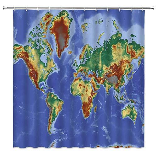 Mapa del Mundo Cortina de Ducha Mapa del Mundo Creativo Geografía del océano Países Ciudades Capitales Tierra Azul Textil Educativo Niños Decoración Tela Juego de Cortina de baño con Ganchos