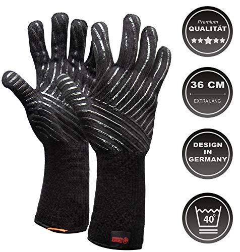Mansons Hittebestendige BBQ & Oven handschoen - EN 407 CERTIFICAAT - Extra groot voor betere bescherming - beschermt Tot 500 graden/ 932°F - Dubbel gevoerd - hittebestendig – Anti slip handschoenen & Siliconen - Barbecue, Koken,Haardhout