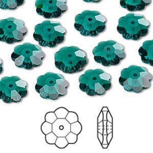 12 Swarovski Marguerite Lochrose Flower Crystal Bead 10x3.5mm Emerald Green 3700