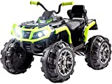 funchic Ride on ATV, 12V Battery Powered Electric Vehicle w/ LED Lights, High &Low Speed, Horn, Music, USB, Rear Wheel Motorized Ride on 4 Wheeler Quad Car for Boys Girls