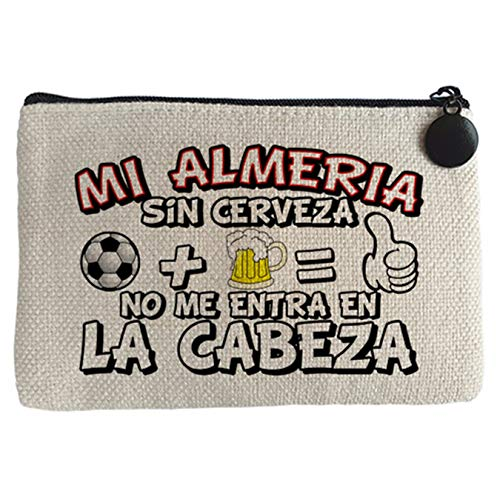 Monedero Mi Almería sin Cerveza no me entra en la cabeza frase para futboleros - Beige, 15 x 10 cm