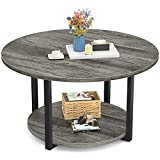 Armocity Round Coffee Table Modern Coffee Table Living Room Table Wood Circle Coffee Table with Storage 2-Tier Central Table for Living Room, Coffee Bar, Patio Easy Assembly, Grey