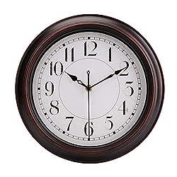 jomparis 12 Bronze Retro Decorative Quartz Wall Clock Silent Non-Ticking Battery Operated Quartz Classic Round Wall Clock