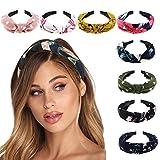DRESHOW - Paquete de 8 cintas para el pelo, accesorios de cabello para mujer Paquete de 8 diademas anchas lisas impresas Talla única