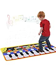 Piano Music Mat, Keyboard Play Mat Music Dance Mat with 19 Keys Piano Mat, 8 Selectable Musical Instruments Build-in Speaker & Recording Function for Kids Girls Boys, 43.3'' x14.2''