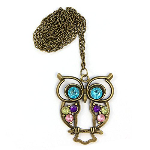 Clearance IEason Lady Crystal Blue Eyed Owl Long Chain Pendant Sweater Coat Necklace