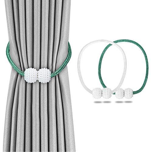 CaLeQi Magnetische Vorhang-Raffhalter, kleine Perlenkugel, Vorhanghalter, Schnallen-Clips, Seilhalterungen für Zuhause und Büro, Dekoration oder Hotelfenster, 4 Stück