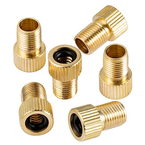 Brass Presta Valve Adapter - Presta to Schrader Converter - French/UK to US - Bike Pump Tire Inflator Bicycle Air compressor Tools to Inflate Tire Using Standard Pump or Air Compressor (6 Pack)